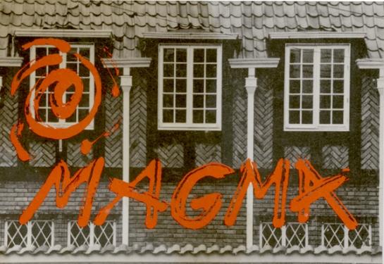 Postal de MAGMA, espacio alterno y taller de los artistas Jaime Iregui, Rafael Ortíz, Marta combariza y Maria Victoria Durán. 1986