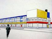 Proyecto de Cornelis van Esteren, de Stijl, para una galería comercial en La Haya, 1924.