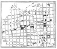 La reconstrucción de Bogotá. Plano del centro que da cuenta delos daños del 9 de abril sobre la carrera séptima. 1948.