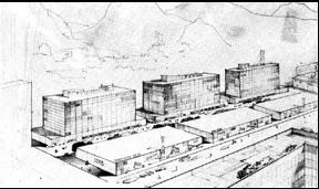 Figura 6. La reconstrucción de Bogotá. Vista aérea del proyecto de Gabriel Serrano, que se propone como representación de una arquitectura racional, ordenada y armónica.Revista Proa # 13, junio de 1948.